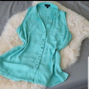 Limited Turquoise mint Buttondown sleeveless shirt